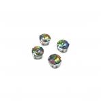 10mm Vitrail sp. apvalūs kristalai sidabro sp. rėmeliuose, 6vnt.