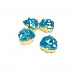12mm žydros sp. Trillion kristalai aukso sp. rėmeliuose, 4vnt