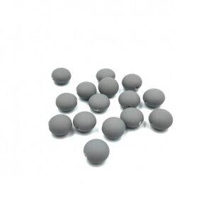 12x8mm pilkos sp. plstiko karoliukai diskai, 15vnt.