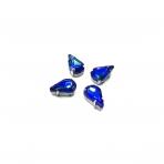 13x8mm mėlynos AB sp. kristalai sidabro sp. rėmeliuose, 6vnt.