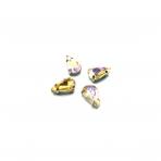 13x8mm Silk AB sp. kristalai sidabro sp. rėmeliuose, 6vnt.