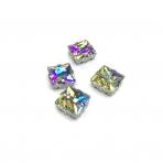 14mm crystal AB sp. kristalai sidabro sp. rėmeliuose, 4vnt