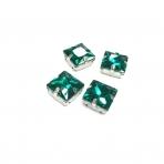 14mm Emerald sp. kristalai sidabro sp. rėmeliuose, 4vnt