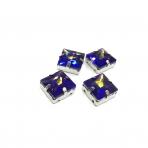14mm mėlyna AB sp. kristalai sidabro sp. rėmeliuose, 4vnt