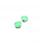 14mm mėnulio žalios sp. kristalai sidabro sp. rėmeliuose, 2vnt.