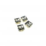 14mm pilkos sp. kristalai aukso sp. rėmeliuose, 4vnt