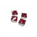 14mm raudonos sp. kristalai sidabro sp. rėmeliuose, 4vnt