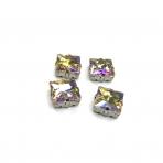 14mm Silk AB sp. kristalai sidabro sp. rėmeliuose, 4vnt