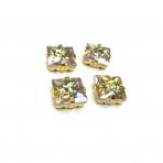 14mm švelnios gelsvos AB sp. kristalai aukso sp. rėmeliuose, 4vnt