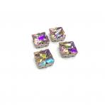 14mm švelnios rožinės AB sp. kristalai sidabro sp. rėmeliuose, 4vnt