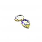 25x18mm crystal AB sp. kristalai aukso sp. rėmeliuose, 2vnt.