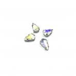 13x8mm crystal AB sp. kristalai sidabro sp. rėmeliuose, 6vnt.