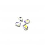 14x10mm crystal AB sp. kristalai sidabro sp. rėmeliuose, 4vnt.
