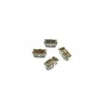 10x5mm dūminės sp. kristalai sidabro sp. rėmeliuose, 4vnt.