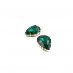 25x18mm Emerald sp. kristalai aukso sp. rėmeliuose, 2vnt.