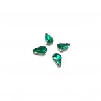 13x8mm Emerald sp. kristalai sidabro sp. rėmeliuose, 6vnt.