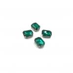 14x10mm Emerald sp. kristalai sidabro sp. rėmeliuose, 4vnt.