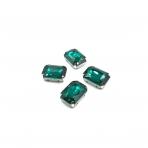 18x13mm Emerald sp. kristalai sidabro sp. rėmeliuose, 4vnt.