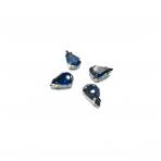 13x10mm indigo sp. kristalai sidabro sp. rėmeliuose, 6vnt.
