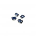 14x10mm indigo sp. kristalai sidabro sp. rėmeliuose, 4vnt.
