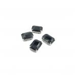 18x13mm juodos sp. kristalai sidabro sp. rėmeliuose, 4vnt.