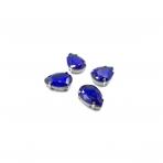 18x13mm mėlyna sp. kristalai sidabro sp. rėmeliuose, 4vnt.