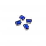 14x10mm mėlyna sp. kristalai sidabro sp. rėmeliuose, 4vnt.