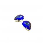 25x18mm mėlynos AB sp. kristalai aukso sp. rėmeliuose, 2vnt.
