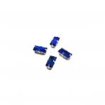 10x5mm mėlynos AB sp. kristalai sidabro sp. rėmeliuose, 4vnt.