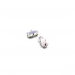 10x5mm mėnulio rožinės sp. kristalai sidabro sp. rėmeliuose, 2vnt.