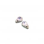 13x8mm mėnulio rožinės sp. kristalai sidabro sp. rėmeliuose, 2vnt.