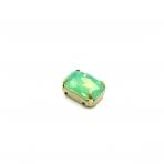 14x10mm mėnulio žalios sp. kristalai aukso sp. rėmeliuose, 1vnt.