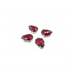 18x13mm raudonos sp. kristalai sidabro sp. rėmeliuose, 4vnt.