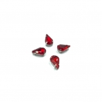 13x8mm raudonos sp. kristalai sidabro sp. rėmeliuose, 6vnt.
