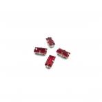 10x5mm raudonos sp. kristalai sidabro sp. rėmeliuose, 4vnt.