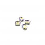 14x10mm Silk AB sp. kristalai sidabro sp. rėmeliuose, 4vnt.