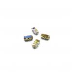 10x5mm Silk AB sp. kristalai sidabro sp. rėmeliuose, 4vnt.