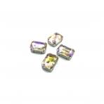 18x13mm Silk AB sp. kristalai sidabro sp. rėmeliuose, 4vnt.