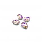 18x13mm švelnios rožinės AB sp. kristalai sidabro sp. rėmeliuose, 4vnt.