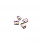 14x10mm švelnios rožinės AB sp. kristalai sidabro sp. rėmeliuose, 4vnt.
