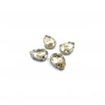 18x13mm šviesios dūminės sp. kristalai sidabro sp. rėmeliuose, 4vnt.