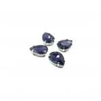 18x13mm violetinės sp. kristalai sidabro sp. rėmeliuose, 4vnt.
