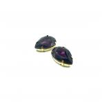 25x18mm violetinės sp. kristalai aukso sp. rėmeliuose, 2vnt.