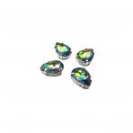18x13mm Vitrail sp. kristalai sidabro sp. rėmeliuose, 4vnt.