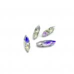 15x4mm crystal AB sp. kristalai sidabro sp. rėmeliuose, 4vnt
