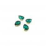 14x10mm Emerald sp. kristalai aukso sp. rėmeliuose, 4vnt.