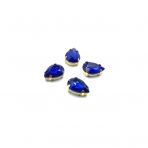 14x10mm mėlyna sp. kristalai aukso sp. rėmeliuose, 4vnt.