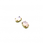 14x10mm mėnulio rožinės sp. kristalai aukso sp. rėmeliuose, 2vnt.