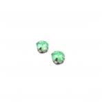 10mm mėnulio žalios sp. apvalūs kristalai sidabro sp. rėmeliuose, 2vnt.