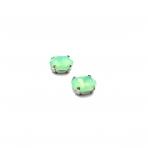 10x8mm mėnulio žalios sp. kristalai sidabro sp. rėmeliuose, 2vnt.
